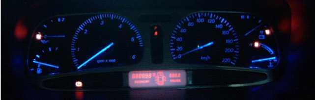 The Fitted NF Fairlane cluster, converted to Blue Leds
